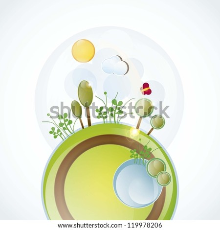 planet with spring landscape, all the seasons vector illustration