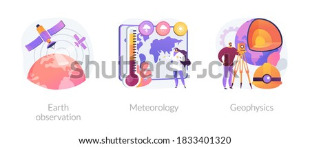 Planetary science abstract concept vector illustration set. Earth observation, meteorology and geophysics, satellite service, met station, weather prediction, space engineering abstract metaphor. Stock fotó ©
