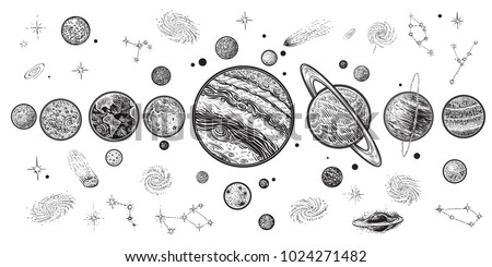Planets and space hand drawn vector illustration. Solar system with satellites, constellations, galaxy and celestial bodies. Linear art with, engraging style.