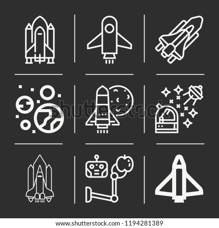Planets, astronaut, shuttle, space shuttle, space icon set suitable for info graphics, websites and print media and interfaces