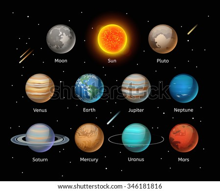 planets colorful vector set on