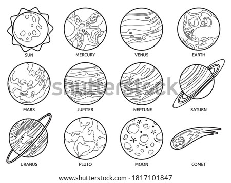 Planets for color book. Solar system earth, sun and neptune, jupiter and pluto, venus and mars, saturn and moon, uranus and comet vector set. Outer space outline for children games