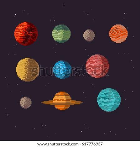 planets icon set  pixel art