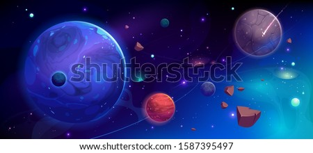 Planets in outer space with satellites, falling meteor and asteroids in dark starry sky. Galaxy, cosmos, universe futuristic fantasy view background for computer game. Cartoon vector illustration