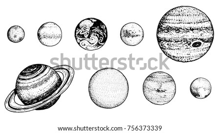 planets in solar system. moon and the sun, mercury and earth, mars and venus, jupiter or saturn and pluto. astronomical galaxy space. engraved hand drawn in old sketch, vintage style for label.