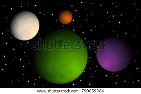 planets in space starry cosmos