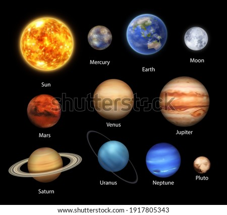 Planets of Solar System realistic set of vector space, astronomy design. Universe galaxy planets and stars, Earth, Sun, Mercury and Jupiter,Saturn and Uranus with rings, Pluto, Moon, Venus and Neptune