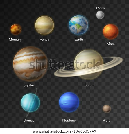 Planets of solar system vector isolated icons. Earth, Saturn, Moon and Mars or Venus, Neptune with Mercury or Uranus and Pluto or Jupiter planet in galaxy universe. Mixed media