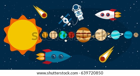Planets of the solar system, comets, rockets and a space station with an astronaut in the background of an open space. Vector illustration in a flat style