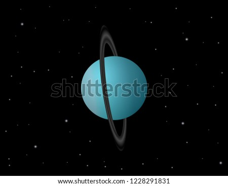 Planets of the Solar System on the starry sky background. Uranus vector