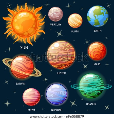 Planets of the solar system. Sun, Mercury, Venus, Earth, Mars, Jupiter, Saturn, Uranus, Neptune, Pluto #696058879