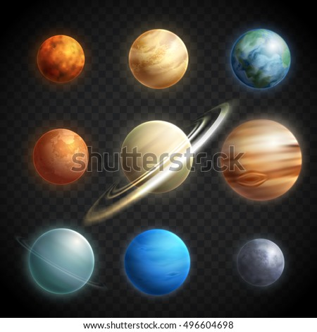 planets realistic transparent