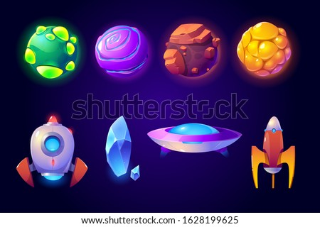 Planets, rockets and alien ufo set isolated on blue background. Fantasy computer game graphic design elements, cosmic collection of funny spaceship shuttles, asteroids Cartoon vector illustration