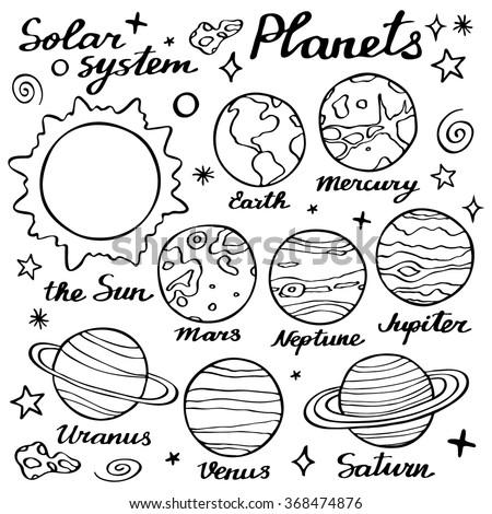 planets set hand drawn cartoon
