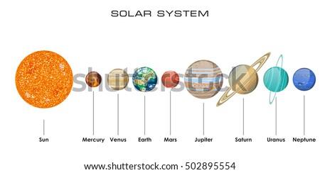 planets vector set on dark