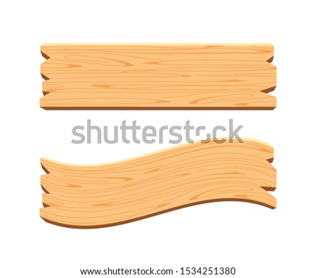 plank signage, wooden plank light brown isolated on white, wood board various types horizontal, empty planks wood, wooden sign for copy space, set of plank wood for signage, cartoon wood plank style