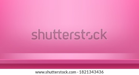 plank table pink on wall room for background, pink backdrop, copy space for advertise product display, table plank pink front view