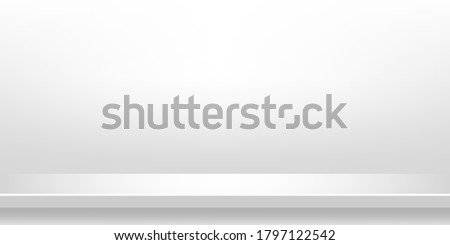 plank table white grey color on wall room background, white gray backdrop, copy space for advertise product display, table plank in front view