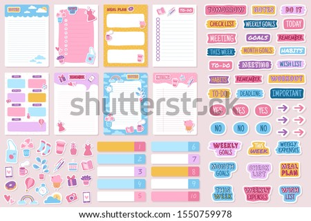 Planner and stickers. Organized daily notebooks, diary agenda reminder. Check lists calendar cards, weekly labels template vector kids planning paper set