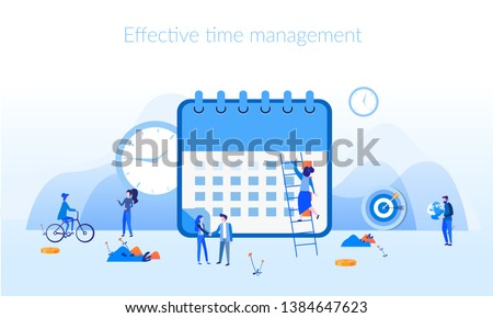 Planner or schedule concept, Effective time management, save time, teamwork, planning training activities,  organization, working time. Flat vector illustration.