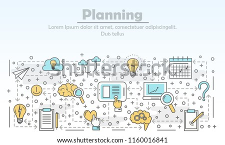 Planning advertising poster banner template. Creative idea, inspiration, business vision concept. Vector thin line art flat style design elements, icons for website banners and printed materials.