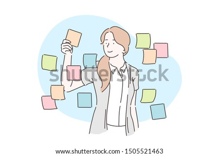 Planning, analysis, business plan concept. Businesswoman sticking adhesive notes on wall in office. A young girl glues paper stickers on the glass. Vector flat design.
