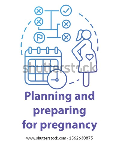 Planning and preparing for pregnancy blue concept icon. Future mother idea thin line illustration. Calendar method, ovulation, maternity. Planned parentship. Vector isolated outline drawing