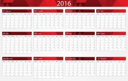 Planning calendar 2016.Abstract calendar for 2016.Vector illustration.
