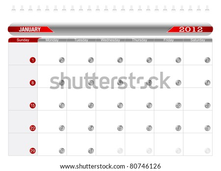Planning Calendar -January 2012,  Week starts on Sunday.