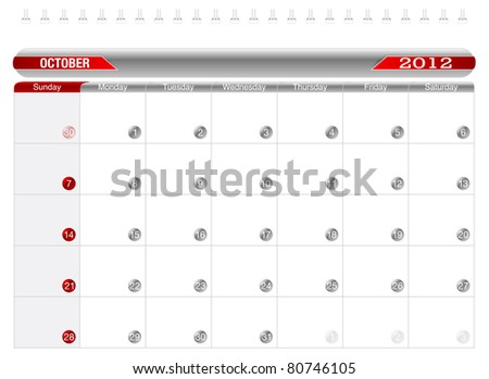 Planning Calendar -October 2012, Week starts on Sunday.