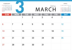 planning calendar simple template March 2016