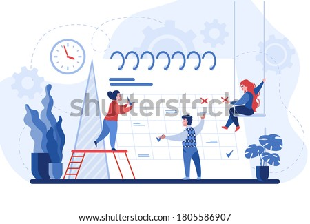 Planning concept. Entrepreneurship and calendar schedule planning with filling course campaign. Vector illustration events social media content and professional plan workers communications