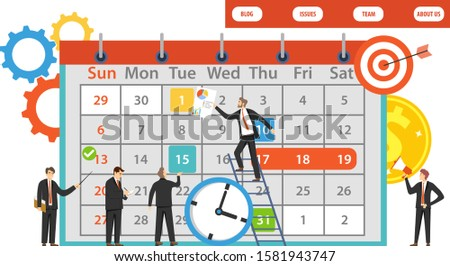 Planning, planning calendar, corporate work. Time to work. Group of mini characters people plan work. Vector illustration. Vector.