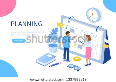 Planning schedule and calendar concept. Can use for web banner, infographics, hero images. Flat isometric vector illustration isolated on white background.