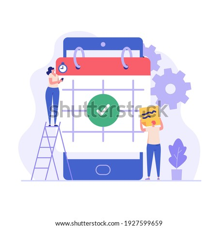 Planning schedule, business event and calendar concept. People with schedule, pen and notes organize meeting. Planning strategy and time management. Vector illustration in flat cartoon design