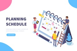 Planning schedule concept banner with characters. Can use for web banner, infographics, hero images. Flat isometric vector illustration isolated on white background.