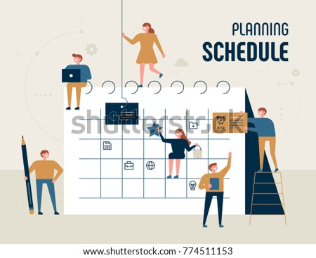 planning schedule giant calendar and small characters concept vector illustration flat design