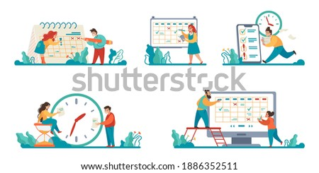 Planning schedule scenes. Cartoon people make timetables for day or month. Isolated cute men and women mark completed tasks in planner. Time management and workflow organization. Vector concepts set Stock photo ©