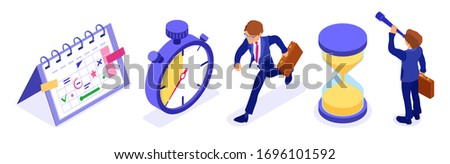Planning schedule time management with stopwatch schedule calendar and hourglass businessman with briefcase and spyglass for new opportunities. deadline time isometric business isolated vector Photo stock ©