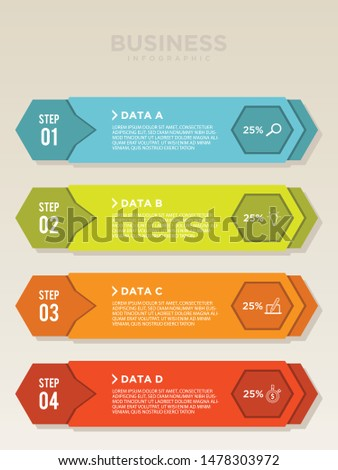 Planning step vector for infographic with icons and 4 options or steps in flat style. Colorful vector design infographic for your best business. Vector illustration EPS.8 EPS.10