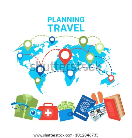 Planning Travel Concept Pointers On World Map Baggage Items Icons Flat Vector Illustration