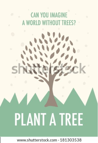 plant a tree poster in vector