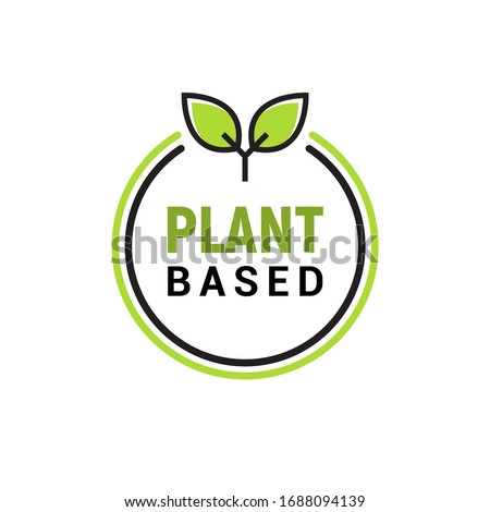 Plant based vegan badge eco icon. Suitable vegetarian symbol logo leaf plant sign Photo stock ©