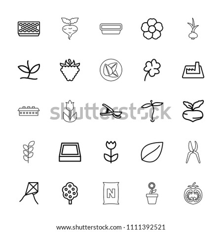 Plant icon. collection of 25 plant outline icons such as beet, tree, leaf, clover, dandelion, garden tools, raspberry, flower. editable plant icons for web and mobile.
