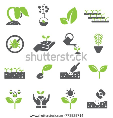 plant icon set and sprout
