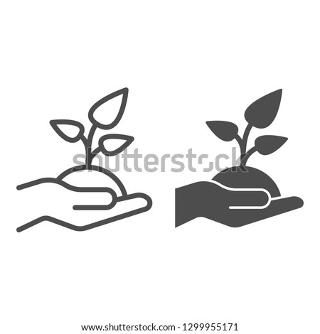 Plant in hand line and glyph icon. Sprout in hand vector illustration isolated on white. Arm and leaf outline style design, designed for web and app. Eps 10