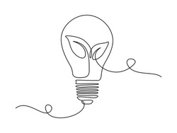 Plant inside Lightbulb in one line drawing. Creative concept of Green energy and environmental friendly sources. Editable stroke. Vector illustration