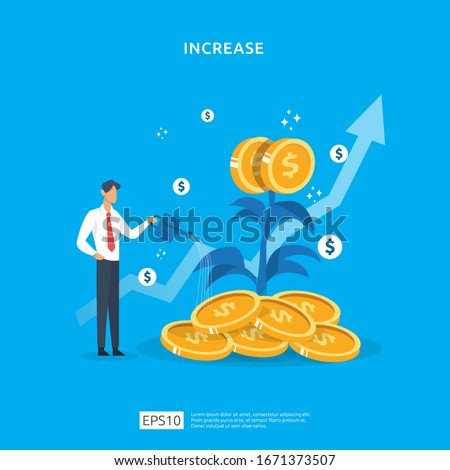 Plant money coin tree growth illustration for Investment Concept. income salary rate increase concept with people character and dollar symbol. Business profit performance of return on investment ROI Foto stock ©