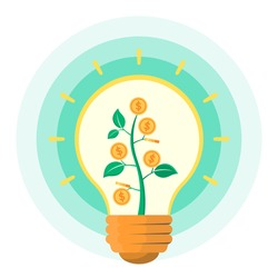 Plant of gold coins growing in bulb. Sign of inspiration and creativity. Money saving and finance concept. Flat design vector illustration.
