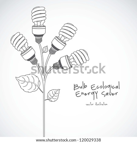 Plant producing energy saving bulbs, vector illustration